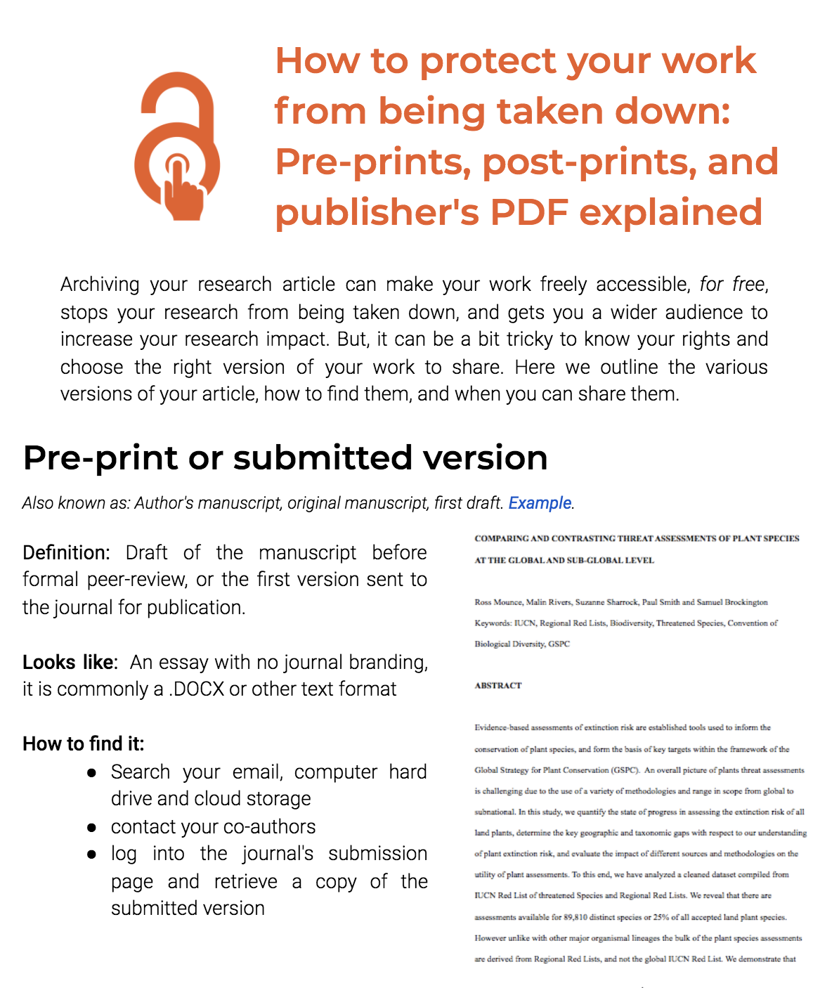 How to protect your work from being taken down: Pre-prints, post-prints, and publisher's PDF explained